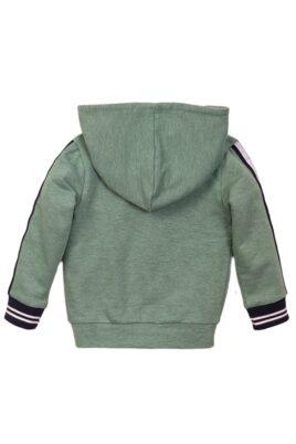Baby Kinder Sweatjacke mit Kapuze + Taschen - Babyjacke mit Streifen + Weltkugel-Patch - Kinderjacke aus Baumwolle für Jungen - Rückansicht