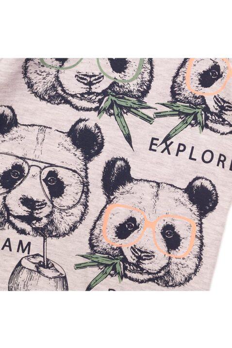 Baby Kurzarmshirt mit Tiermotiv + Druckknöpfen an der Schulter - Graues Rundhalsshirt für Kinder von Dirkje - Detailansicht