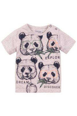 Dirkje Baby T-Shirt Kinder Sommershirt mit Rundhalsausschnitt + Pandas – Jungen Oberteil aus weicher Baumwolle in grau – Vorderansicht