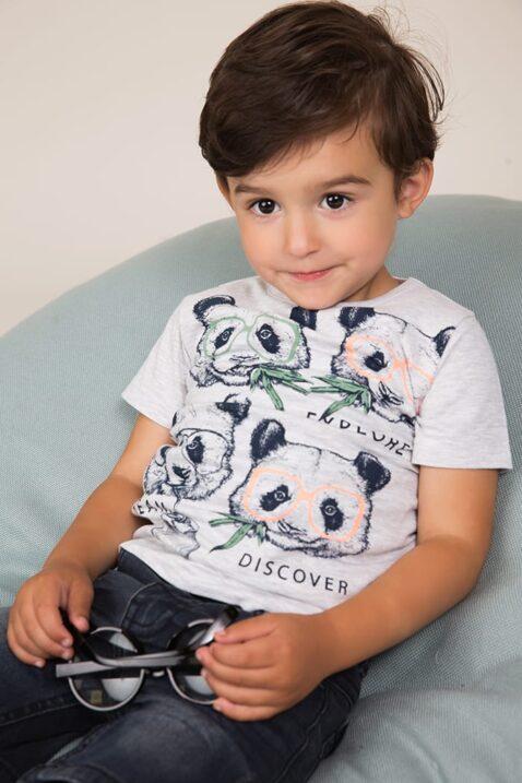 Baby T-Shirt Kindershirt aus Baumwolle mit Tiermotiv - Kurzarmshirt mit Rundhalsausschnitt mit Pandas - Babyphoto