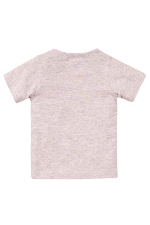 Baby T-Shirt mit Pandas + Druckknöpfen - Kurzarmshirt mit Rundhalsausschnitt in grau meliert von Dirkje - Rückansicht