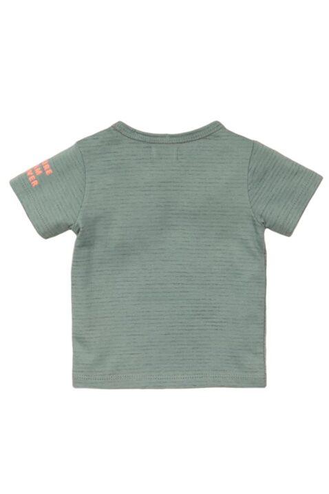 Baby Kindershirt Sommershirt mit Rundhalsausschnitt aus weicher Baumwolle - Oberteil gestreift mit Print - Jungen T-Shirt in grün von Dirkje - Rückansicht