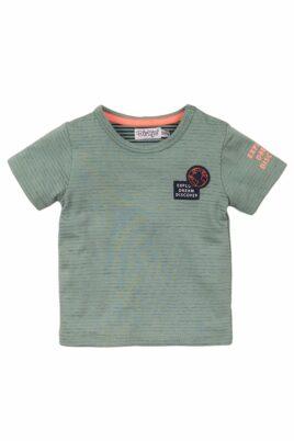 Dirkje Baby T-Shirt Sommershirt mit Rundhalsausschnitt gestreift mit Weltkugel-Patch – Kurzarmshirt für Jungen aus Baumwolle – grün – Vorderansicht