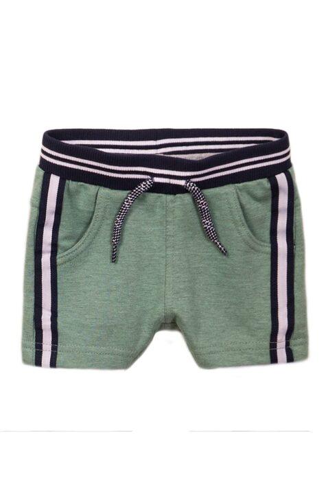 Baby Shorts mit Taschen + Komfortbund + Zierkordel aus weicher Baumwolle - Sommerhose grün mit Streifen - Kurze Hose für Jungen von Dirkje - Vorderansicht
