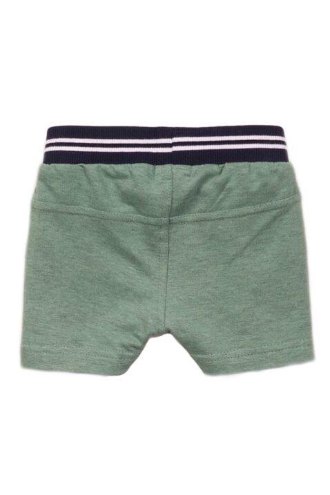 Baby Shorts mit Taschen + gestreiftem Bund für Jungen - Grüne Kinder Sommerhose aus Baumwolle von Dirkje - Rückansicht