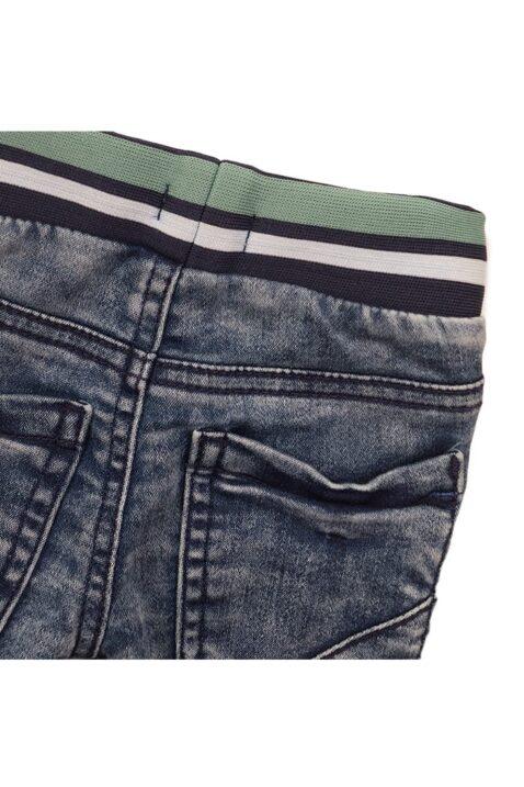 Baby Kinder Jeans im Jogger-Style mit gestreiftem Bund - Jeanshose mit Taschen + Gummizug für Jungen von Dirkje - blau - Detailansicht