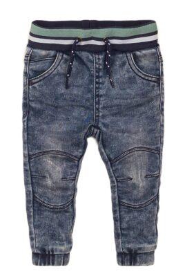 Dirkje Baby Jeans im Jogging-Style mit Taschen + gestreiftem Komfortbund – Babyjeans mit Taschen + Gummizug – Kinderjeans blau für Jungen – Vorderansicht