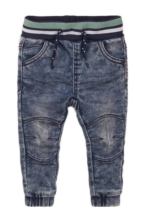 Baby Jeans im Jogging-Style mit Taschen + gestreiftem Bündchen für Jungen - Jeanshose blau aus Baumwolle von Dirkje - Vorderansicht