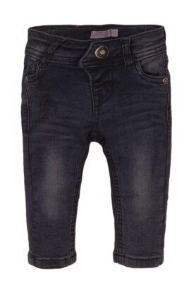 Dirkje Baby Jeans mit Taschen + Leder-Patch – Kinder Jeanshose dunkelgrau slimfit für Jungen – Vorderansicht