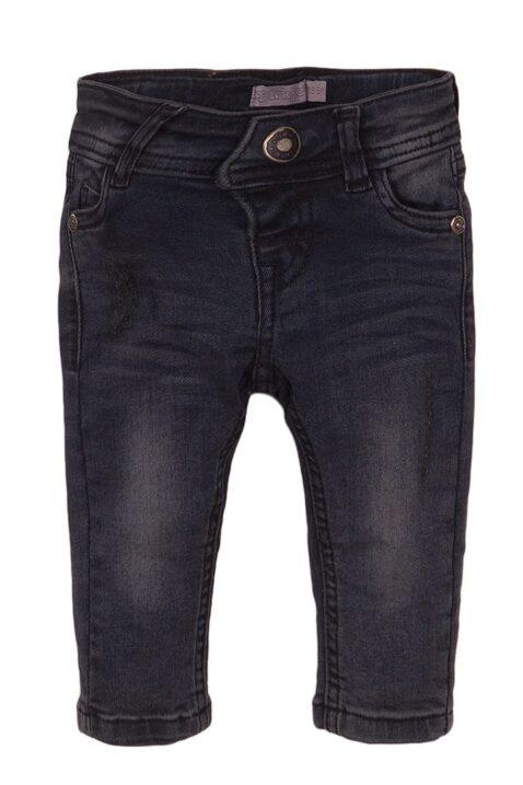 Baby Jeanshose mit Taschen + Marken-Patch - Kinder Jeans slim fit in dunkelgrau mit Knopf - Babyjeans aus Baumwolle von Dirkje - Vorderansicht