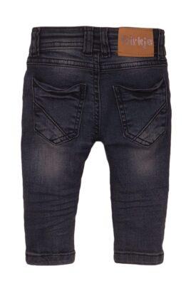 Baby Kinderhose Jeans mit Taschen + Leder-Patch aus Baumwolle - Jeanshose für Jungen aus Baumwolle von Dirkje - grau - Rückansicht