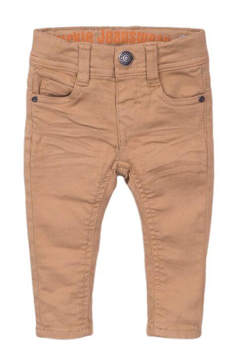 Kinder Baby Jeanshose mit Taschen + Marken-Patch - Kinder Jeans im Vintage-Look slim fit in beige mit Knopf - Babyjeans aus Baumwolle von Dirkje – Vorderansicht