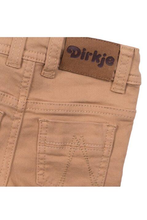 Baby Jeans im Vintage-Look mit Taschen + Marken-Patch in Lederoptik - Jeanshose für Jungen Slim Fit beige - Babyjeans aus Baumwolle von Dirkje - Detailansicht