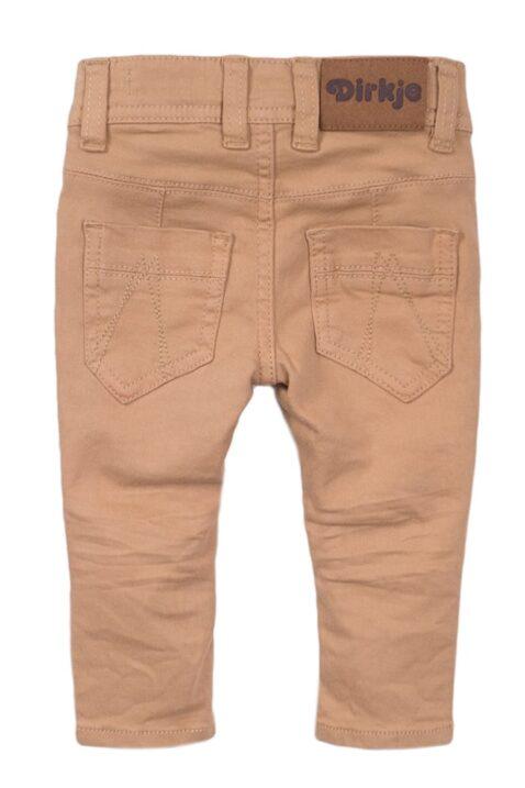 Baby Kinderhose Jeans mit Taschen + Leder-Patch aus Baumwolle – Jeanshose im Vintage-Look für Jungen aus Baumwolle von Dirkje - sand – Rückansicht