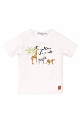 Dirkje Kinder Baby T-Shirt mit Rundhalsausschnitt + Tierparaden-Stickerei – Oberteil kurzarm aus weicher Baumwolle – weiß – Vorderansicht
