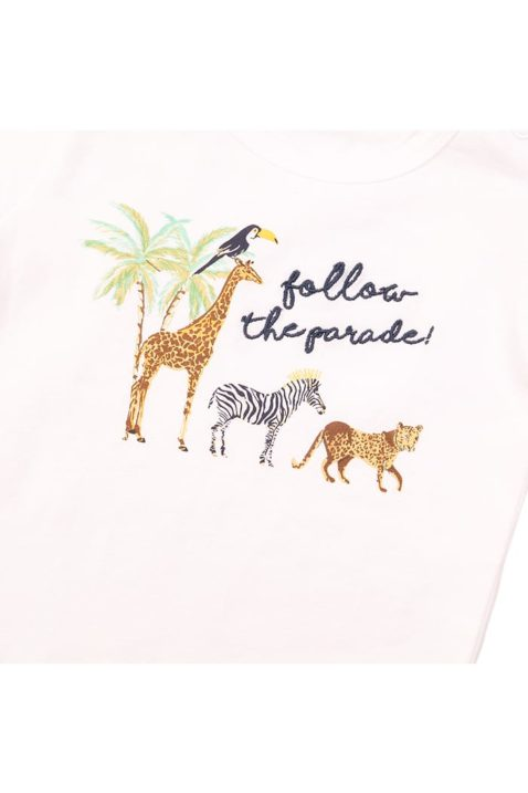 Kinder Baby Kurzarmshirt Sommershirt mit Tiermotiv-Stickerei + Druckknöpfen - T-Shirt kurzarm für Jungen in weiß - Detailansicht