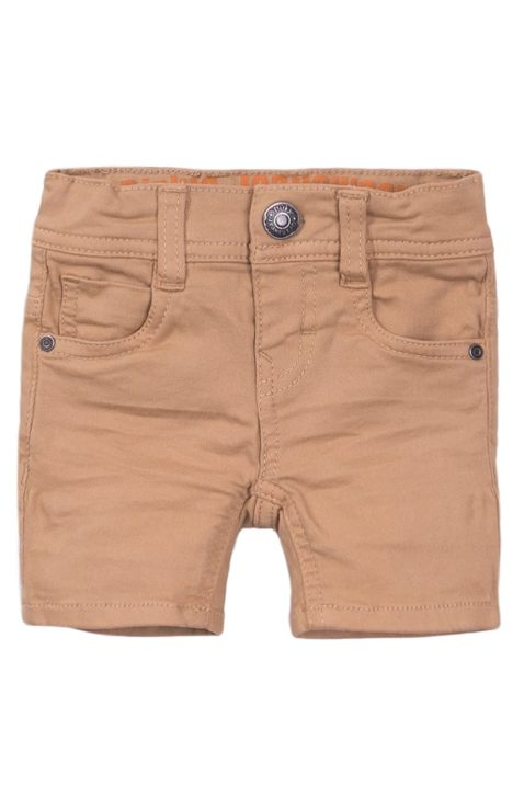Baby Kinder Jeanshose kurz aus Baumwolle im Vintage-Look - Shorts mit Taschen + Leder-Patch für Jungen von Dirkje - beige - Vorderansicht
