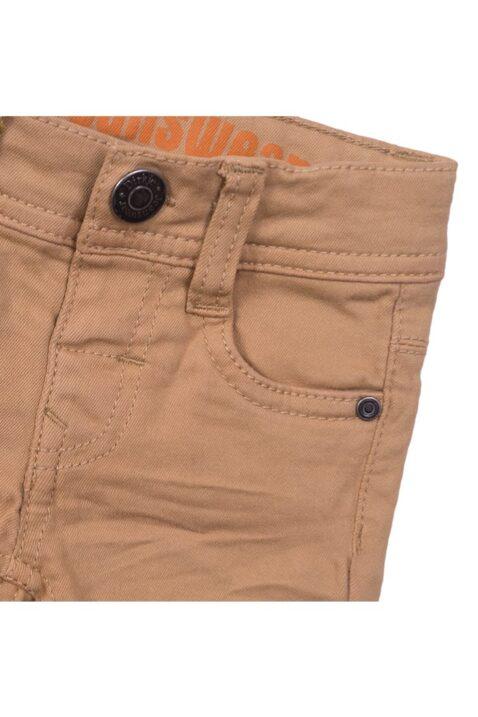Baby Kinder Jeans-Shorts mit Taschen + Leder-Patch für Jungen - Kurze Hose aus Baumwolle Vintage beige von Dirkje - Detailansicht