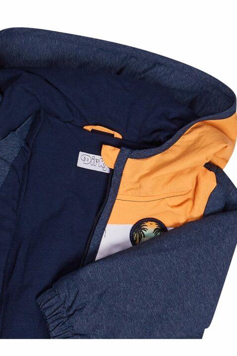 Baby Kinder Kapuzenjacke mit gestreiftem Bund + Seitentaschen - Jungen Sommerjacke blau mit Patch von Dirkje - Detailansicht
