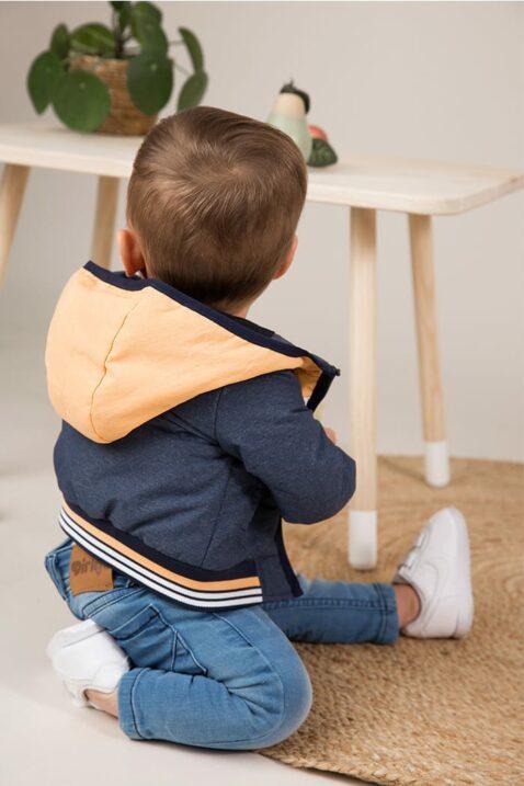 Baby Übergangsjacke mit Kapuze + Taschen blau mit gestreiftem Bund - Kinder Kapuzenjacke gefüttert - Babyphoto