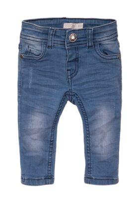 Dirkje Kinder Baby Jeans mit Taschen im Used-Look + Leder-Patch – Kinder Jeanshose blau 5-Pocket für Jungen – Vorderansicht