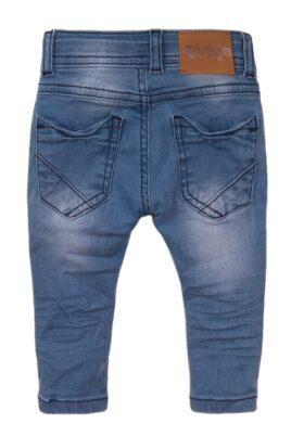 Baby Kinderhose Jeans 5-Pocket mit Leder-Patch aus Baumwolle - Jeanshose für Jungen aus Baumwolle von Dirkje - blau – Rückansicht