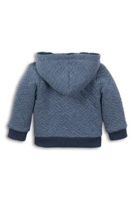 Gefütterte Baby Sweatjacke mit Kapuze + Taschen - Kapuzenjacke mit Fellimitat mehrfarbig blau - Babyjacke von Dirkje mit Fischgrätenmuster - Rückansicht