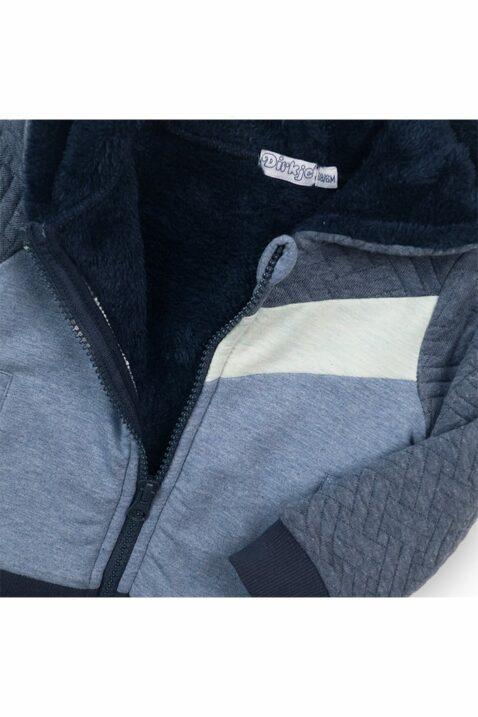 Baby Kapuzen-Sweatjacke gefütterte mit Fellimitat für Jungen - Babyjacke im Fischgrätenmuster blau mit Reißverschluss - Sweatjacke für Jungen von Dirkje - Detailansicht