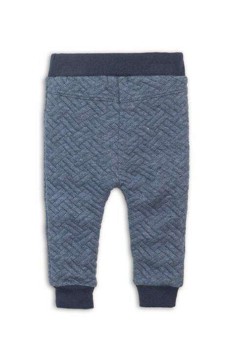 Baby Sweathose gesteppt in Fischgrätenoptik - Babyhose mit Komfortbund aus Baumwolle - Jogginghose für Jungen von Dirkje - blau - Rückansicht