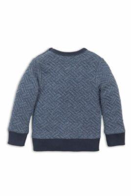 Baby Sweater mit Rundhalsausschnitt für Jungen - Kinder Sweatshirt gesteppt blau mit Patch + Komfortbund - Pulli aus Baumwolle von Dirkje - Rückansicht