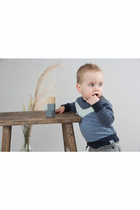 Kinder Pullover gesteppt in verschiedenen Blautönen - Baby Sweatshirt rundhals mit Patch - Pulli aus Baumwolle für Jungen von Dirkje - Babyphoto