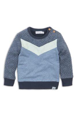 Dirkje Baby Sweatshirt gesteppt mit Fischgrätenmuster + Patch – Kinder Pullover mit Rundhalsausschnitt aus Baumwolle – blau – Vorderansicht