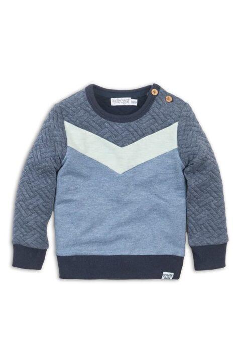 Baby Sweater gesteppt mit Knöpfen an der Schulter + Komfortbund - Baby Sweatshirt aus Baumwolle - Rundhalspullover für Jungen von Dirkje - blau - Vorderansicht
