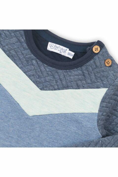 Baby Pullover gesteppt mit Fischgrätenmuster + dunkelblauem Bündchen - Kinder Sweatshirt für Jungen von Dirkje in blau - Detailansicht