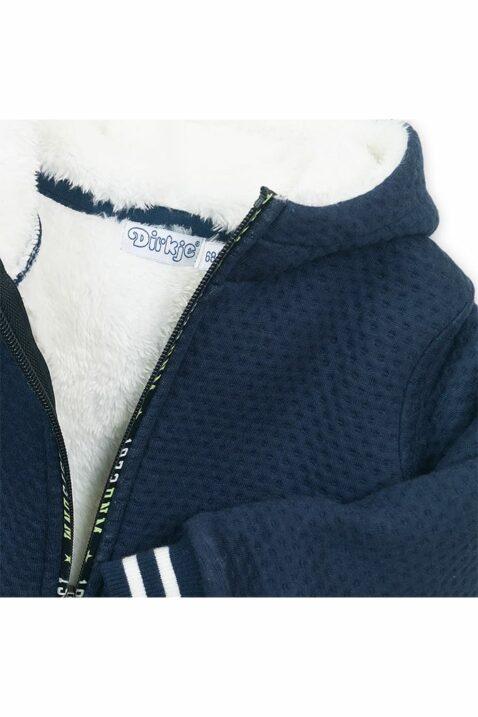 Baby Sweatjacke mit Kapuze + Fellimitat - Sweatjacke aus Baumwolle mit Taschen von Dirkje - navy - Detailansicht