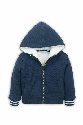 Dirkje Baby Kapuzen-Sweatjacke mit Fellimitat + Taschen – Kinder Kapuzenjacke aus Baumwolle für Jungen in blau – Vorderansicht