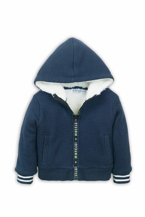Babyjacke Sweatjacke mit Kapuze + Taschen - Kapuzenjacke mit Fellimitat für Jungen - Babyjacke aus Baumwolle von Dirkje - blau - Vorderansicht