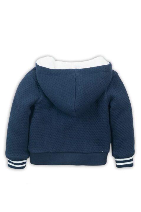 Baby Kapuzenjacke mit Fellimitat + Taschen aus Baumwolle - Sweatjacke mit Punktelook in blau - Kinderjacke für Jungen von Dirkje - Rückansicht