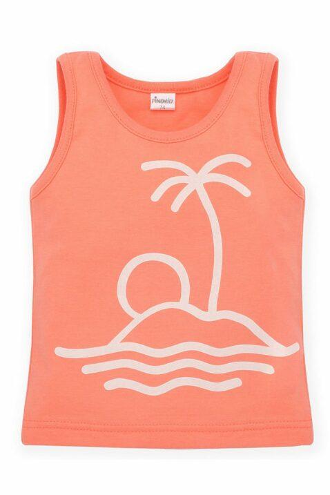 Koralle orange Baby Kinder Tanktop mit Print Insel, Palme, Sonne & Meer für Jungen & Mädchen - Ärmellos Sommershirt Muskelshirt von Pinokio - Vorderansicht