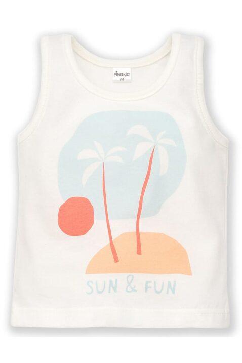 Weißes Kinder Baby Tank-Top mit Insel Print, Palme, Sonne & Meer für Jungen & Mädchen - Ärmellos Sommershirt Muskelshirt von Pinokio - Vorderansicht