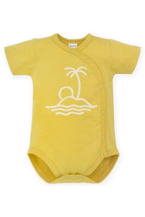 Gelber Baby Wickelbody mit Insel-Motiv, Palme, Sonne, Meer, Strand für Jungen & Mädchen - Sommer Kurzarmbody hautfreundliche Baumwolle von Pinokio - Vorderansicht