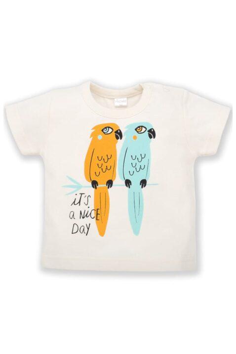 Weißes Baby T-Shirt mit Papageien Tiermotiv für Jungen & Mädchen - Sommer Kinder Rundhalsshirt aus hautfreundlicher Baumwolle von pinokio - Vorderansicht