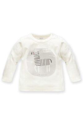 Pinokio weißes Baby Langarmshirt Oberteil mit Zebra Motiv & wild & free Print für Jungen – Kinder Tiershirt Rundhalsshirt – Vorderansicht
