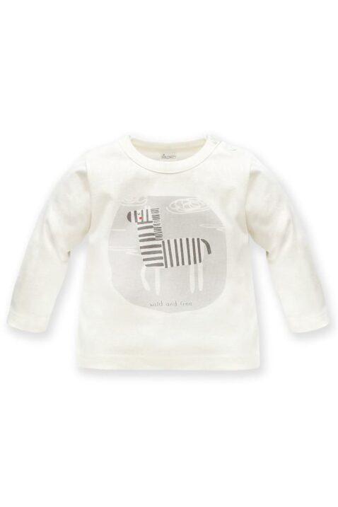 Weißes Baby Langarmshirt Oberteil mit Zebra Motiv & wild & free Print für Jungen - Kinder Tiershirt Rundhalsshirt von Pinokio - Vorderansicht