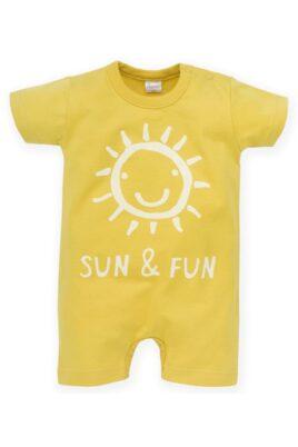 Pinokio gelber Kinder Baby Spieler kurzer Overall mit lachender Sonne & SUN & Fun Print für Jungen & Mädchen – Kurzarm Einteiler – Vorderansicht