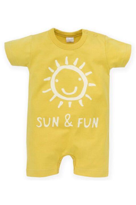 Gelber Kinder Baby Spieler kurzer Overall mit lachender Sonne & SUN & Fun Print für Jungen & Mädchen - Kurzarm Einteiler von Pinokio - Vorderansicht