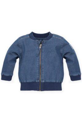 Pinokio blaue Baby Kinder Blouson-Jacke Jeans Denim mit Reißverschluss, SUN & FUN Patch für Jungen & Mädchen – Frühlings- & Sommerjacke – Vorderansicht