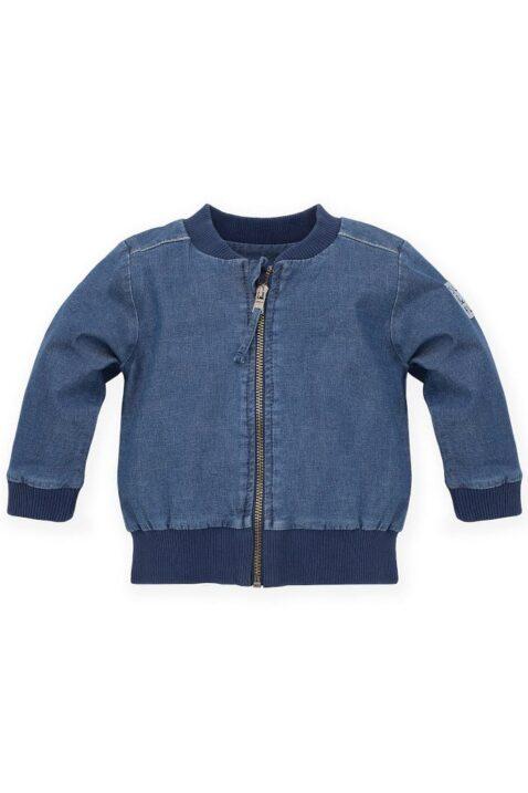 Blaue Baby Kinder Blouson-Jacke Jeans Denim mit Reißverschluss, SUN & FUN Patch für Jungen & Mädchen - Frühlings- & Sommerjacke von Pinokio - Vorderansicht