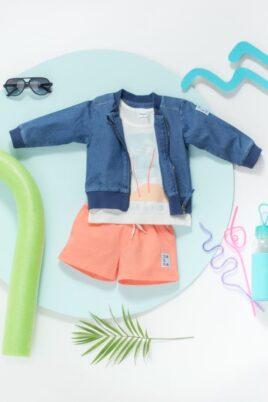 Blaue Kinder Baby Rundhals Übergangsjacke Denim & Reißverschluss Bomberjacke - Kurze Hose Shorts mit Kordel Koralle, SUN & FUN Patch von Pinokio - Inspiration Sommer-Outfit