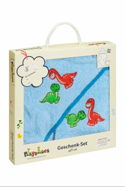 Baby Geschenkset mit Kapuzentuch große Kapuze & Waschhandschuh Waschlappen aus Frottee mit Dinosaurier in blau OEKO TEX für Jungen von Playshoes Deutschland - Geschenkbox